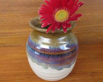 "Pottery  Bouquet Vase 5"" in Brown Glaze Hertz Pottery"