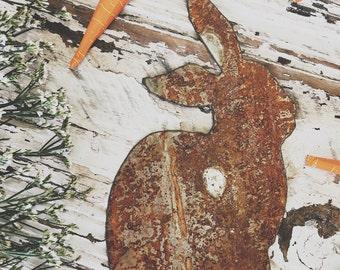 Small Bunny | Little Metal Bunny | Rusty | Galvanized | Easter Bunny Decor | Metal Bunny Sign