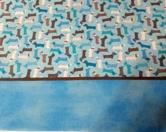 Pillow Case Miniature Dachshunds on Blue