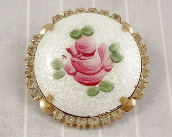 Vintage Guilloche Disk  Pin With Painted Rose, Rhinestone and Enamel Brooch, Feminine Flower Floral Jewelry, Mothers Day or Sweetheart Gift