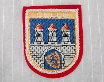 """Vintage 2.9"""" Sew On Celle Patch Woven On Felt, Lower Saxony Souvenir, Coat of Arms Applique, Germany Travel Collectible"""