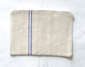 VINTAGE Grainsack Zippered Pouch - Blue Stripes