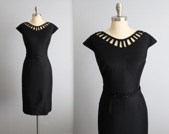 Reserved. Please do not purchase.  50's Dress // Vintage 1950's Peekaboo Neckline Black Pique Cotton Fitted LBD Dress L XL