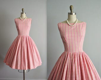 50's Day Dress // Vintage 1950's Pink Orange Plaid Cotton Full Summer Dress M