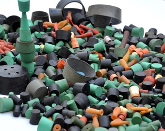 100s of Solid Rubber Stopper Plugs: Instant Collection of Science Laboratory Equipment Corks in Many Colors -- Steampunk Supplies Lot #86