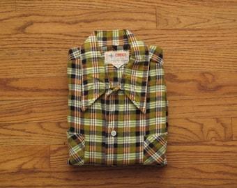 vintage printed plaid flannel
