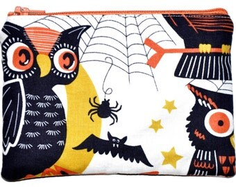 Halloween Owls Zipper Coin Purse Zippered Pouch Wallet ID Holder Gift Idea Stocking Stuffer