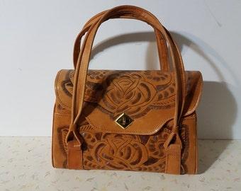 Vintage Tooled Leather Purse Boho Retro 1970's Tooled Leather Handbag Flowers Floral