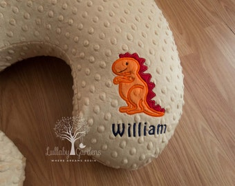 Personalized Minky Boppy Cover, Appliqued T Rex Minky Boppy Cover, Personalized Baby Gifts, Boppy Pillow Cover, Nursing Pillow Cover