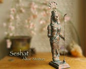 Final Payment - RESERVED LISTING for Martha - Seshat Altar Statue - Consort of Thoth - Handcrafted Statue with Copper Patina Finish