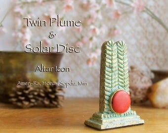 Double Feather and Solar Disc Altar Icon - Swty - Handcrafted Stylized Icon with Red Dyed Howlite Disc and Aged Golden Brass Patina Finish