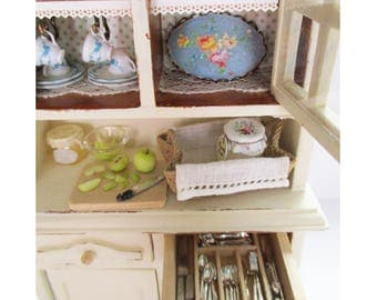 Vintage Antique style Filled Cabinet  -    12th Scale Dollhouse Miniature furniture & Accessories