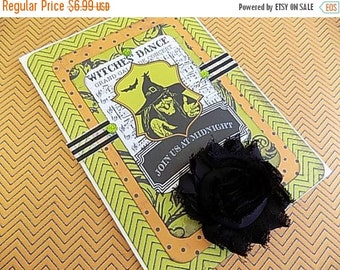 Halloween Embellished Card - Witches Dance - Blank Greeting - Orange Black Green