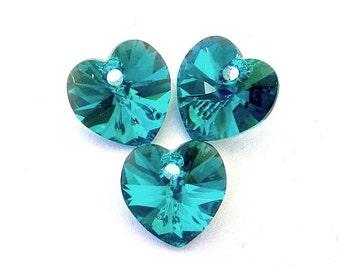 Blue Zircon AB Swarovski 10mm heart pendants, crystal, qty 3