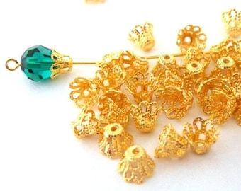 Gold plated filigree beadcaps, 7mm basket shape, Qty 40