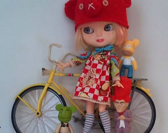 Cute dress with and matching animal hat for Blythe or Pullip