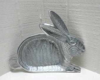 Vintage Bunny Rabbit Tray Aluminum Rabbit Serving Tray