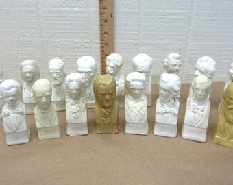 Vintage Plaster Classical Music Composers 17 Statuettes Busts Herco 1950's Sold Individually