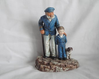 "Norman Rockwell Figurine ""Looking Out to Sea""  LE 7195/9500 Porcelain Old Sea Captain Boy Dog"