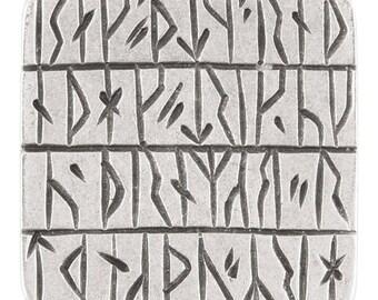 Buttons-27mm Ancient Script-Casting-Antique Silver-Quantity 1