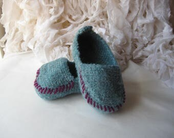 Cadet Blue, Crochet Felted Moccasin Bootie, Sizes S M L,  Made to Order, Top Stitched, Babies First Loafers, Baby Toddler Moccasins