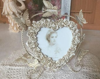 Victorian Photo Frame, Roses & Butterflies, Heart Shape Picture Frame, Wedding Photo Frame, Memento Photo Frame