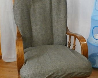 Nursery Glider Rocker SlipCover -Brown/Grey Plaid Tiny Covers for your cushions