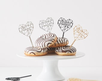 Personalised Geometric Heart Cupcake Topper