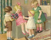 Hartelijk Gefeliciteerd Charming Pauli Ebner Image A Birthday Party Surprise 1937 Vintage Postcard - Colorful and Detailed Image