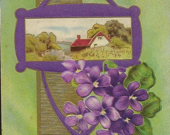 Bouquet of Purple Violets and Countryside Cottage – Vintage Postcard King Greetings 1912 Landscape Floral Series