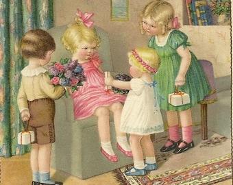 Hartelijk Gefeliciteerd Charming Pauli Ebner Image A Birthday Party Surprise 1937 Vintage Postcard - Colorful and Detailed Image
