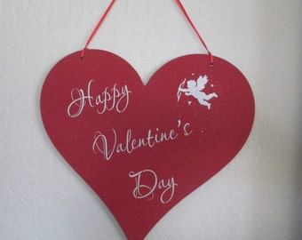 Happy Valentines Day Wooden Heart Sign - Happy Valentines Day - Valentines Day Sign - Wooden Valentines Day Sign