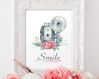 Smile Art Print Motivational Printable Art, Watercolor Printable Art Print Modern Art Home decor Instant Download, Digital File