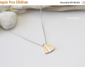Triple Triangle Necklace in Silver. Everyday Wear. Birthday. Christmas. Gift For Her (PNL-86)