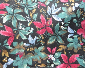 Hoffman International Fabrics The Country Collection Beautiful Dark Foilage and Fruit Fabric Yardage Burgandy Greens and Black