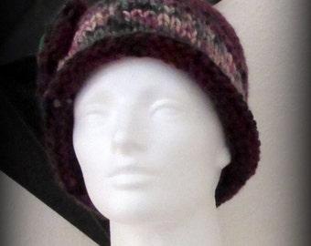 hat - knit hat - hand knit hat - funky knit hat - acrylic knit hat - burgundy hat - green hat - burgundy knit hat - green hand knit hat
