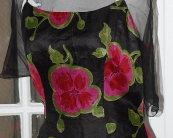 50s 60s Wiggle Dress, Illusion Neckline, Back Drape, Pink, Magenta Flowers on Black, Silk, Sheath, Size M, As Is