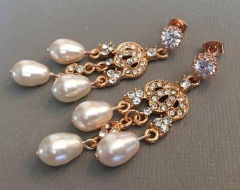 Rose Gold Bridal Earrings Long Pear Shape and CZ Rhinestone Swarovski crystal teardrop bridal wedding earrings crystal chandelier earrings