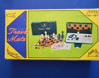 Vintage Travel Mate Chess and  Checkers Set