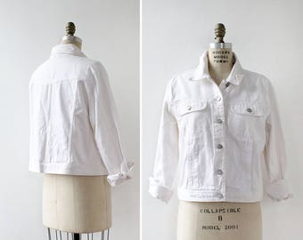 White Denim Jacket L • Bill Blass Jean Jacket • 90s Denim Jacket • Vintage Jean Jacket • White Jacket • Vintage Denim Jacket | O416