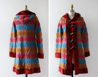 Hooded Jacket XS/S • Chenille Jacket • Rainbow Jacket • Fuzzy Jacket • Vintage Jacket • Sweater Jacket • Knit Jacket • Hippie Jacket | O414