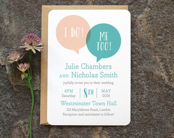 Fun Modern Wedding Invitation / 'Speech Bubble' We Do Minimal Wedding Invite / Blush Nude and Aqua  / Custom Colours Available / ONE SAMPLE