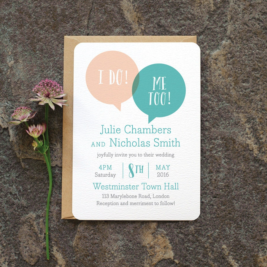 Fun Modern Wedding Invitation Speech Bubble We Do