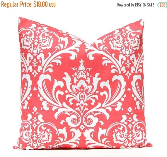 15% Sale Coral Pillow Covers - Coral and White Damask - Coral Cushion Cover - One 20 x 20 Pillow Cover - Coral Bedding - Coral Home Decor