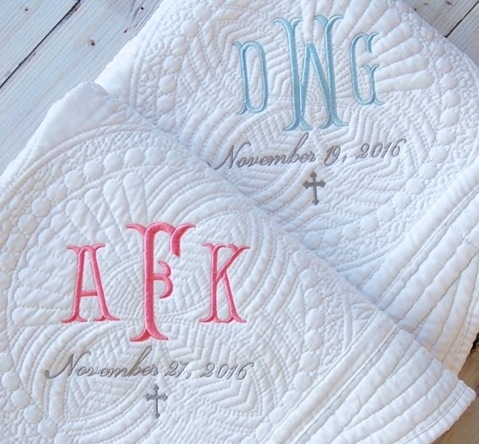 Baby Gift Quilt : Baptism gift monogram quilt new baby personalized