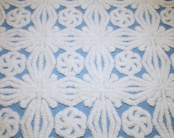 Cornflower Blue Buttons 'n Bows or Snowflake Design Hofmann Vintage Chenille Bedspread Fabric Piece - 22 by 21 Inches