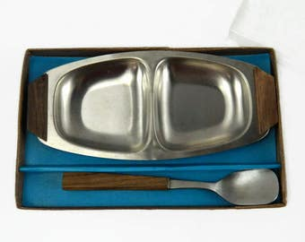 Vintage Mid Century Stainless & Wood Miniature Serving Dish Set Jelly Server Danish Modern 1960s