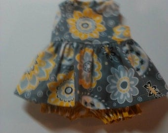 "Baby Alive  And Waldorf Doll Clothes Yellow and Grey Medallion Adorable Dress 10"" 12"" Or 15"""