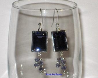 Purple Crystal Drop Earrings w/ Swarovski Tanzanite AB Bicone Crystals,Earrings,Jewelry,Purple Earrings,Bridal Jewelry,Elegant Earrings