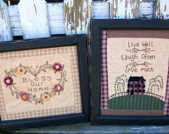 2 Hand Made Faux Primitive Distressed Wall Pictures Yo Yos Welcome Home Bless Our Home Live Well Laugh Often Love Muche